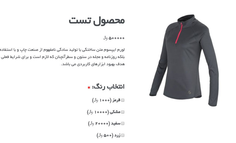 افزونه Woocommerce Product Add-ons فارسی